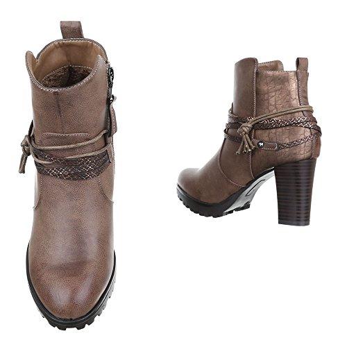 Ital-Design - Botas de Material Sintético para mujer marrón y gris