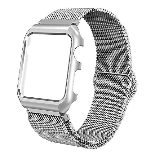 BMBEAR Compatible with Watch Band 42mm Upgraded Stainless Steel Magnetic watchband with Metal Case for Watch Series 3 Series 2 Series 1 Protective Bumper Replacement Strap Silver