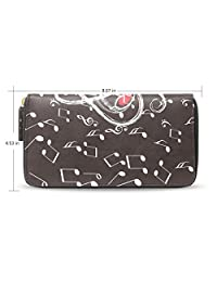 BAIHUISHOP Music Notes Pattern Leather Long Wallet & Purse Case Card Holder