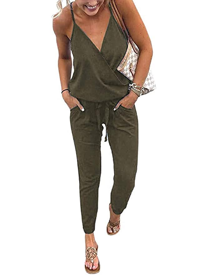 Famulily Womens Wrap V Neck Spaghetti Strap Backless Jumpsuit Rompers by Famulily