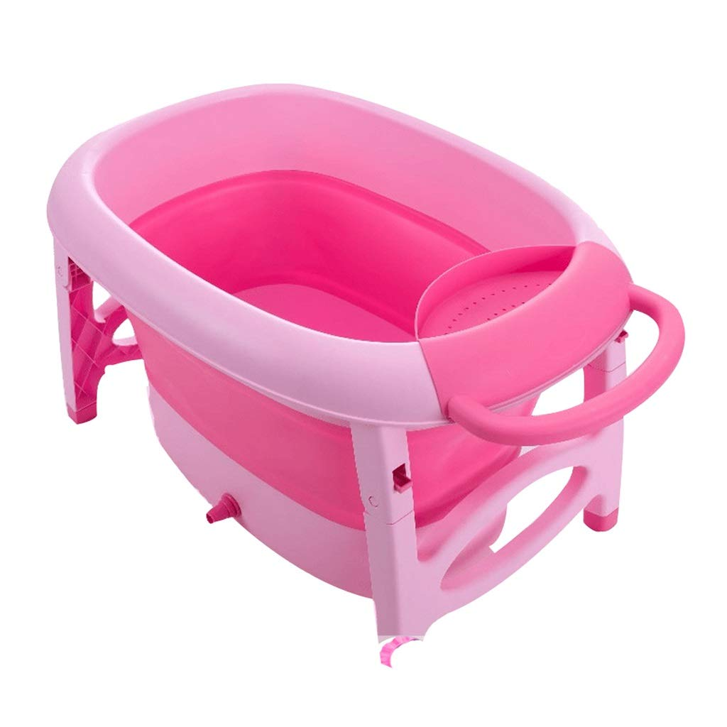 Pink RFQ Folding Bathtub, Portable Adult Bathtub Baby Folding Thicken Bathtub Home, Infant Collapsible Portable Bathtub, Large Space, Green, Pink (color   Pink)