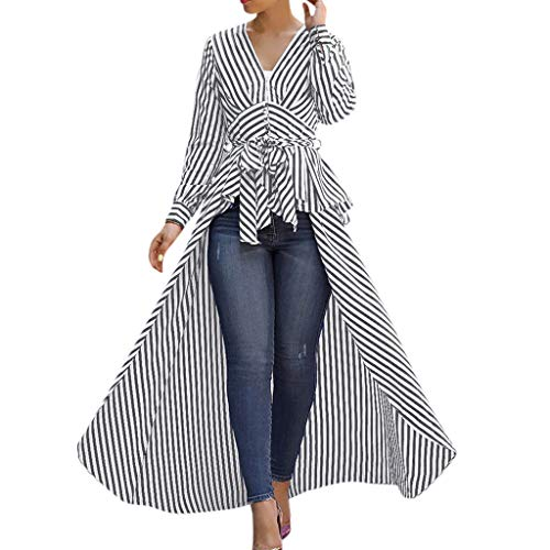 kaifongfu Women 2019 Sexy Fashion Irregular Hem Stripe Bow Tie V-Neck Long Sleeve Loose T-Shirts Tops Blouse(Black,L)