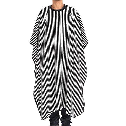 Doinshop Hair Cut Hairdressing Cape Cloth Apron Salon Barber Gown Waterproof (Black/White Stripe   149 (Barber Stripe)