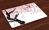 Ambesonne Floral Place Mats Set of 4, Japanese Cherry Tree Blossom in Watercolor Painting Effect Oriental Stylized Art, Washable Fabric Placemats for Dining Room Kitchen Table Decor, Black Pink