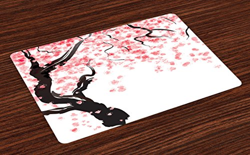 Ambesonne Floral Place Mats Set of 4, Japanese Cherry Tree Blossom in Watercolor Painting Effect Oriental Stylized Art, Washable Fabric Placemats for Dining Room Kitchen Table Decor, Black Pink by Ambesonne