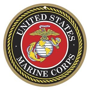 "SJT ENTERPRISES, INC. US Marines Logo 10"" Round Wood Plaque Sign (SJT15416) 12"