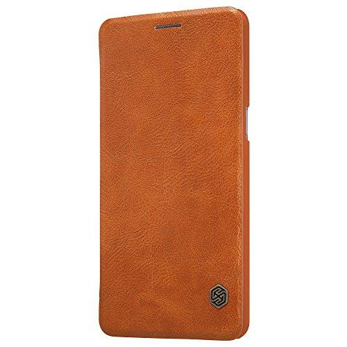 Meimeiwu Hohe Qualität Flip Up Leder Brieftasche Tasche Hülle - Handytasche Schale mit Karten-Slot Entwurf + Free Gift Stylus für OnePlus 3 A3000 - Braun