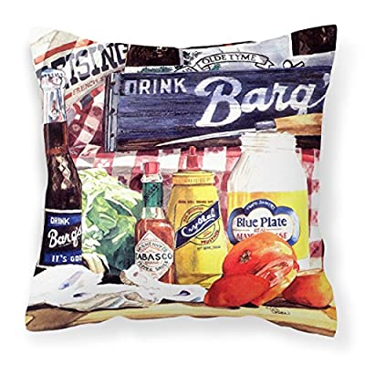 Caroline's Treasures 1013PW1414 Blue Plate Mayonaise, Barq's a Tomato Sandwich Canvas Fabric Decorative Pillow, 14Hx14W, Multicolor : Garden & Outdoor