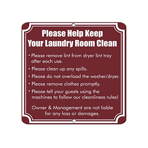 (Follow Rules For Better Laundry Room Business Aluminum METAL SIGN 18 in x 18 in)