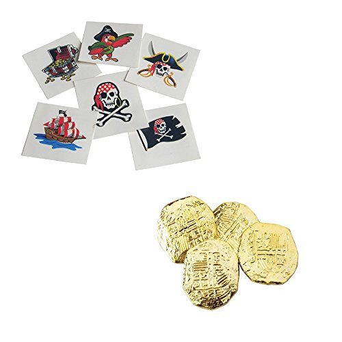 216 Piece Pirate Tattoos & Coins Toy Party Favor Supplies Set (Pirate Theme Tattoos)