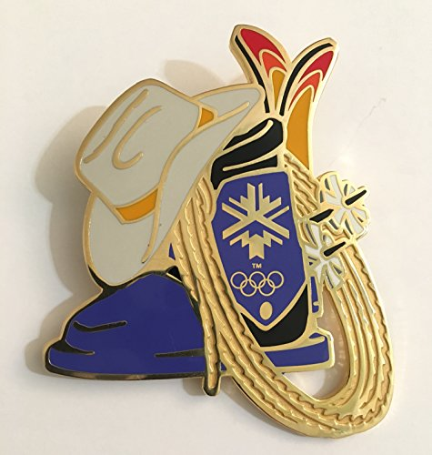 (2002 Salt Lake City Winter Olympics Official Insignia Logo Skis Boot Hat Lariat Limited Edition Pin 202/1000)