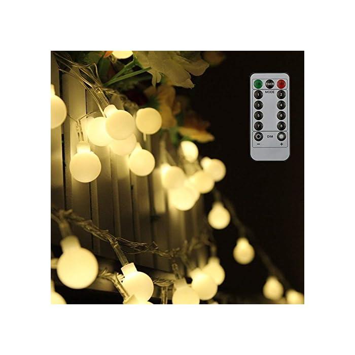 51P6VPs thL ❤【Diseño Especial de la Forma del Bulbo】: Friegue el bulbo esférico del diseño superficial, el diámetro es solamente 19 mm, Mini luz más suave del tamaño. ❤【Mando a Distancia】: Equipado con un ir de 13 teclas de control remoto, puede cambiar diferentes efectos de iluminación, el ajuste de la hora, ajustar el brillo de la luz. ❤【Ocho Efectos de Iluminación】: Incluyendo la combinación, en onda, secuencial, Slo glo, persiguiendo/Flash, lento se descolora, centelleo/flash, constante encendido, satisfaciendo le varias necesidades y traerle una variedad de disfrute visual.
