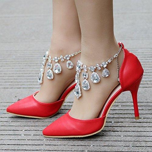 alto Scarpe Tacco Qingchunhuangtang Scarpe scarpe scarpe White Red nozze vestono partito Diamond di di H4fWxwt