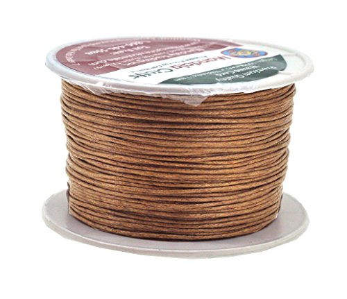 - Mandala Crafts 1mm 109 Yards Jewelry Making Beading Crafting Macramé Waxed Cotton Cord Thread (Russet Brown)