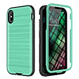 iPhone Xs MAX Case with Screen Protector, CinoCase Full-Body Rugged Armor Case Heavy Duty Shockproof Hybrid Bumper Protective Cover with Brushed Metal Texture Hard Back Case for iPhone Xs MAX Green
