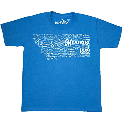 inktastic - Montana State Youth T-Shirt Youth Small (6-8) Pacific Blue 30b40 (Symbol State Montana)