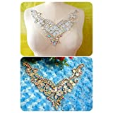 CoolPart Handmade Crystal Patches Clear Ab Colour Sew On Rhinestones Applique With Stones Sequins Beads 25*20Cm For Top Dress Perfect Patches