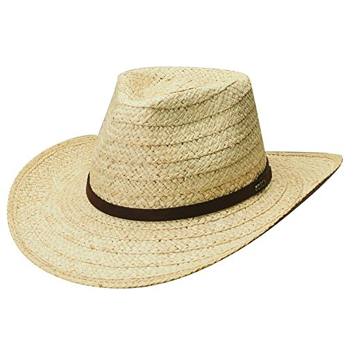 Scala Raffia Unisex Packable Raffia Outback Hat, Natural Straw, M ()