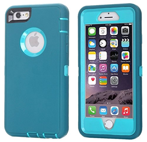 Ai-case Built-in Screen Protector Tough 4 in1 Rugged Shorkproof Cover With Kickstand for iPhone 6/6S Plus, Blue(Without Kickstand)