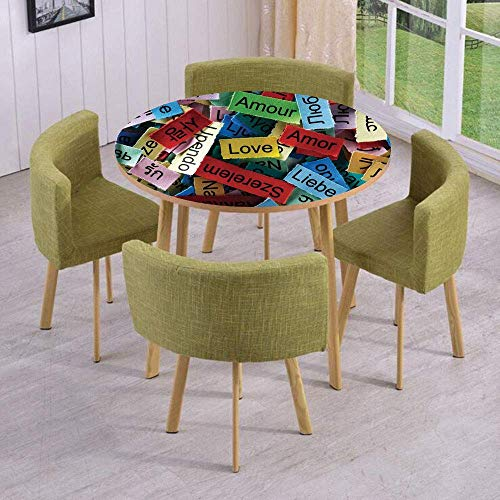 VAMIX Round Table/Wall/Floor Decal Strikers/Removable/Love Word Cloud Collection in Different Languages French Japanese All Common Personal Artsy Work/for Living Room/Kitchens/Office Decoration