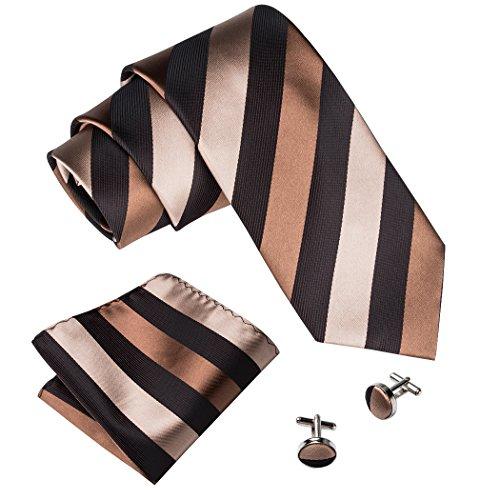 Barry.Wang Men's Business Silk Tie Set Brown Stripes