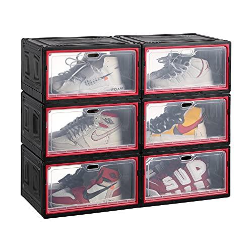 Cajas plastico apilables p/zapatos negras pack 6 12x27x21 cm