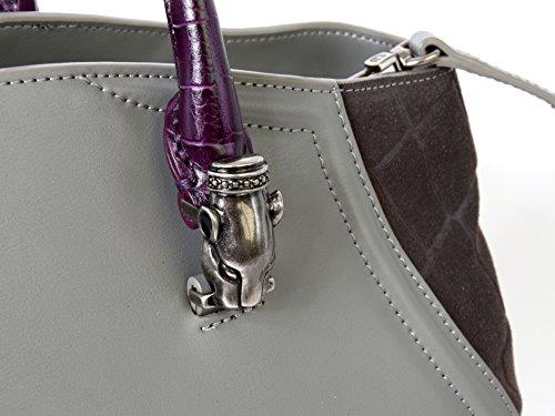 CGU.003 , borsa a mano con tracolla , Cavalli Class, grigia e grigia scura con manici viola