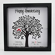 5, 10, 25, 30, 40, 50 Years Anniversary Frame Gift Custom Printed (Black Frame)