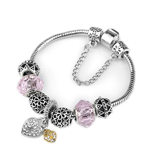 5 Style Original Silver Plated Heart Key Crystal Hollow Charm Beads Bracelet Pink 18cm