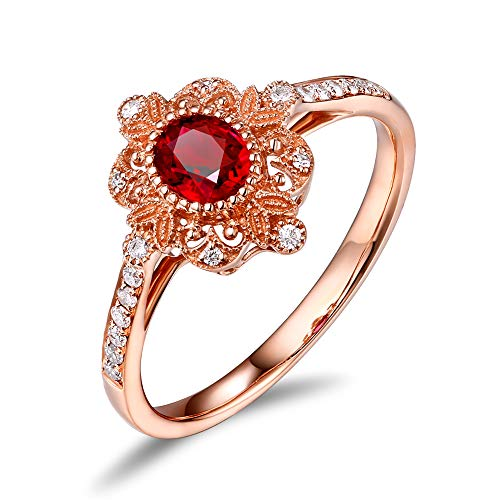 Caimao Jewelry Milgrain 18k Rose Gold 0.43ct Oval Natural Ruby 0.12ct Full Cut Diamond Ring Bead Vintage