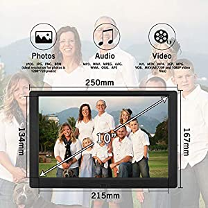 Digital Photo Frame 10.1 Inch (16:10) 1280×800 High Resolution Full IPS Display Photo/Music/Video Player Calendar Alarm Auto On/Off Timer, Support USB and SD Card, Remote Control, Black