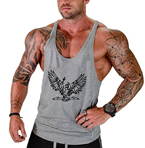 Men Gym Clothing Sports Sleeveless Print Fitness Bodybuilding Stringer Tank Muscle Top Basketball Jerseys Tank Tops A- Shirts (Grey, L) ()