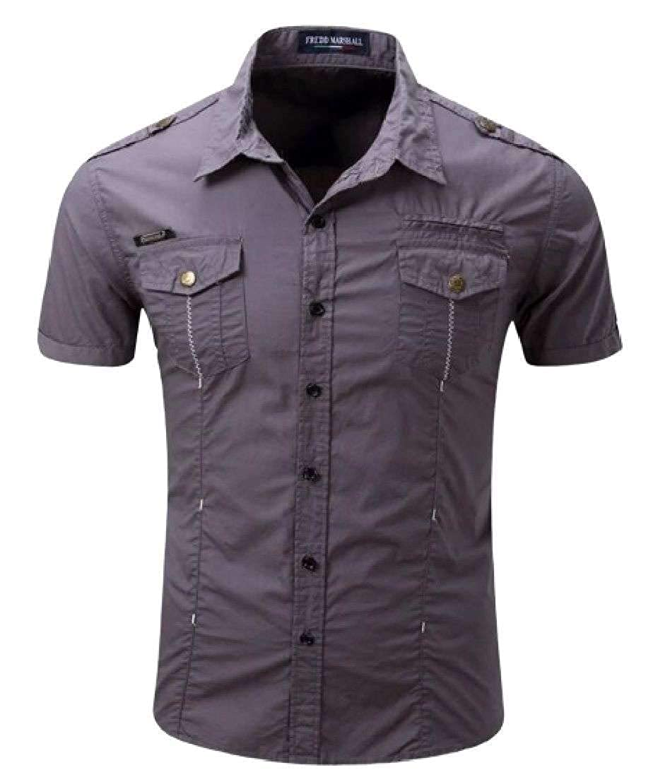 OTW Mens Outdoor Military Button Up Cotton Stylish Short Sleeve Dress Shirts