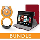 rooCASE Fire HDX 7 Orb Bundle, Folio Case Cover Stand for Kindle Fire HDX 7 , Red [Patented Orb System]