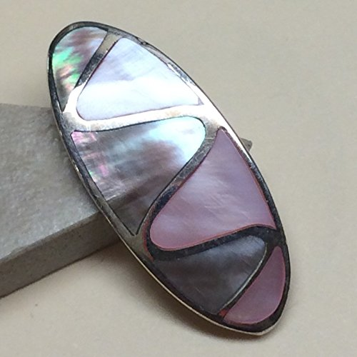 Natural Rainbow Abalone Shell Pink Shell 925 Solid Sterling Silver pendant 34mm (Sterling Silver Natural Shell)