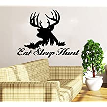 Poieloi Deer Hunting Wall Decals Quotes Sticker Wall Decal Quote Eat Sleep Hunt Home Decor Nursery Bedroom Art
