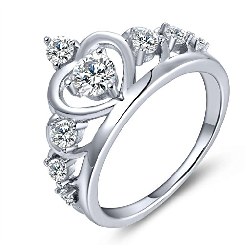 YL Women's 925 Sterling Silver Cubic Zirconia Princess Heart Crown Ring