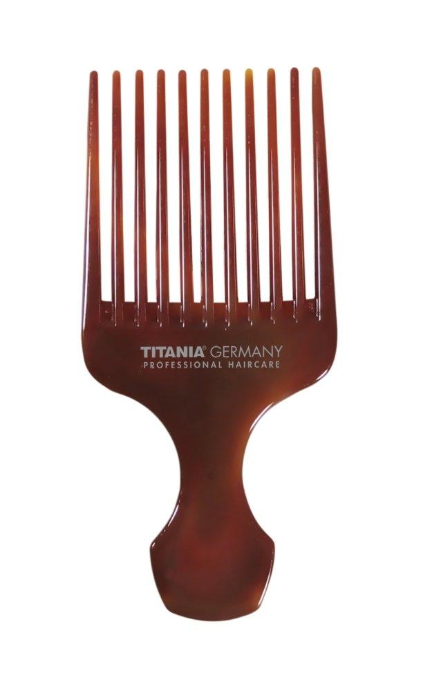 TITANIA Afrokamm, Groß mit Griff, Circa 15 cm, Havanna, 1er Pack (1 x 30 g) Groß mit Griff 1805/8