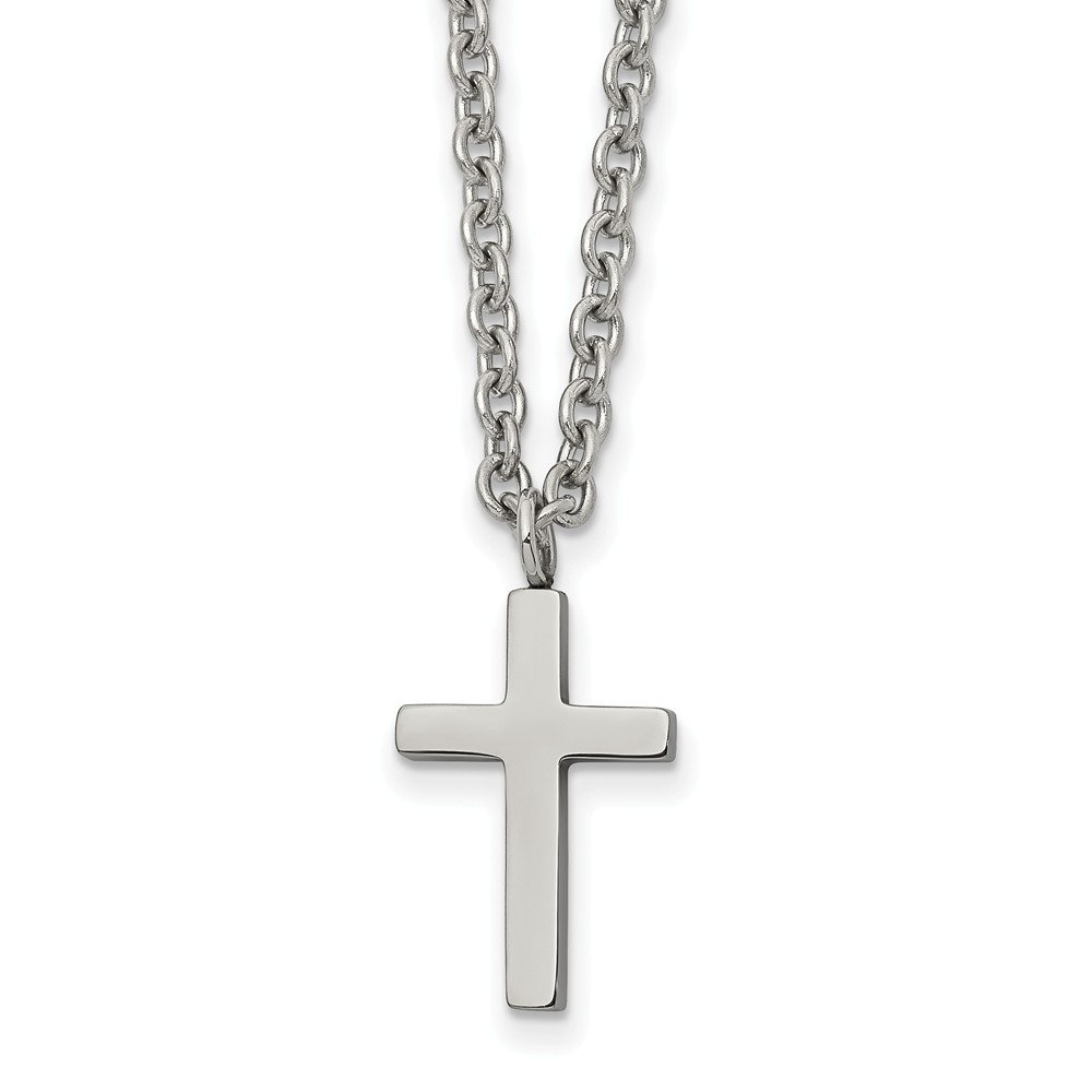 Jay Seiler Stainless Steel Polished 16mm Cross 18 inch Necklace 18 in, Length