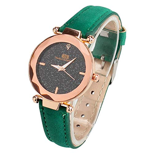 Honestyivan Women's Fashion Quartz Analog Watches Star Dial Leather Strap Casual Simple Watch Wrist Watch Gift for Mom