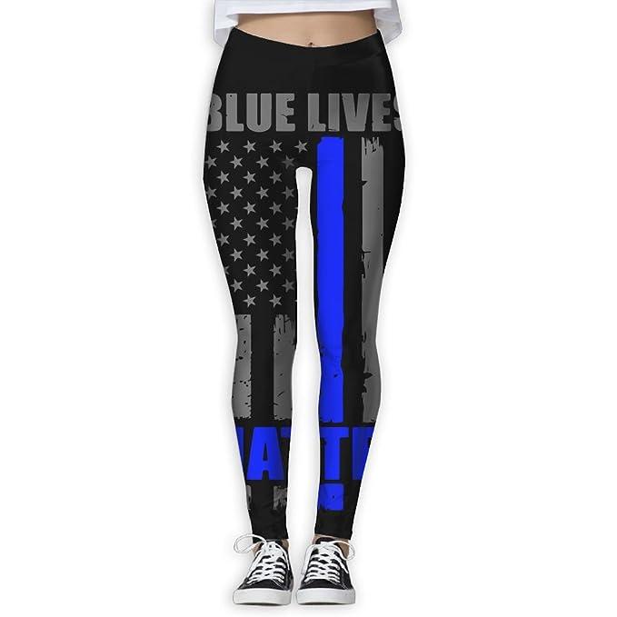 UU-JULY Womens Blue Lives Matters Elastic Waist Pencil Yoga Pants Yoga Leggings