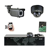 GW Security 5MP (2592x1920p) 8Ch NVR Home Security Camera System - HD 1920p 2.8~12mm Varifocal Zoom Weatherproof (1) Bullet and (1) Dome PoE IP Camera - 5 Megapixel (3,000,000 more pixels than 1080P)