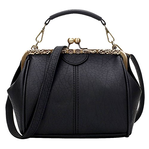 Donalworld Women Retro Hollow out PU Leather Handbag M Lblack