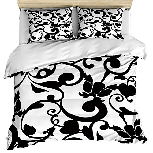 wanxinfu 3 Piece Duvet Comforter Cover Set Full Size, Retro Black White Brocades Dream Home Decorative Zippered Quilt Cover Teen Room Decor Bedding Set Include 1 Duvet Cover and 2 ()