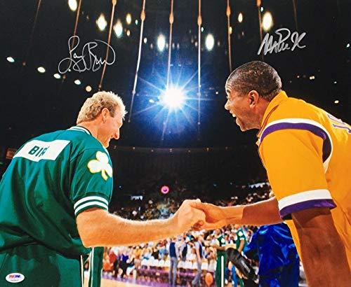 Magic Johnson & Larry Bird Signed Basketball 16x20 Photo 7A28467 - PSA/DNA Certified - Autographed NBA Photos