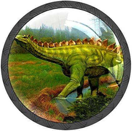 取っ手 引き出しハンドル 恐竜 森 かっこいい 把手 家具ハード 食器棚ワード ワードローブ 耐久性 飾り 4個セット 収納ケース付き