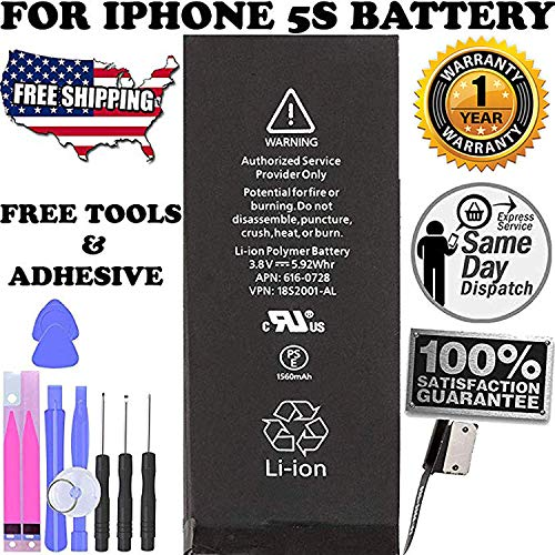 5S Replacement Battery Compatible with iPhone 5S or 5C - Repair Kit with Tools, Adhesive Strips 1560 mAh 0 Cycle Battery - 1 Years Warranty