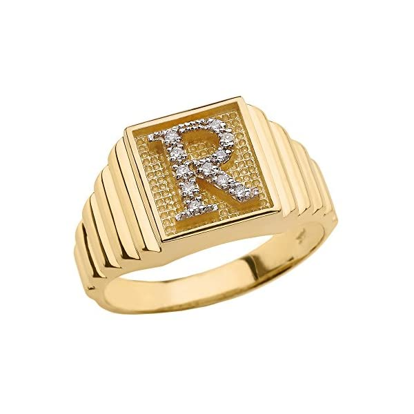Mens-10k-Yellow-Gold-Layered-Band-Square-Face-Diamond-Initial-Letter-R-Ring