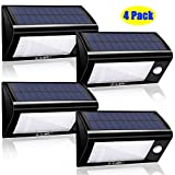 Solario 32 LEDs Wireless Solar Powered Security Floodlights with Motion Activation and Peel and Stick, Black, Set of 4