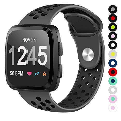 (Compatible for Fitbit Versa   Soft Silicone Replacement Sport Band for New Fitbit Versa Smart Watch (Charcoal/Black, Large))